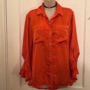 Michael Kors orange blouse M New
